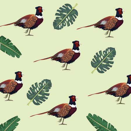 wild pheasants birds farm and leafs pattern vector illustration design