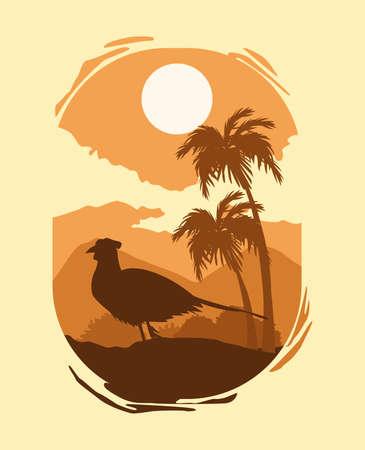 wild pheasant bird silhouette in the landscape scene vector illustration design