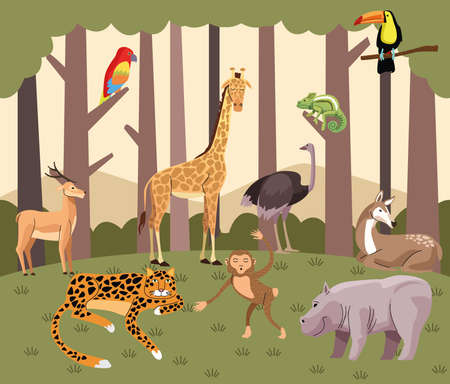 wild animals group in the forest scene vector illustration design
