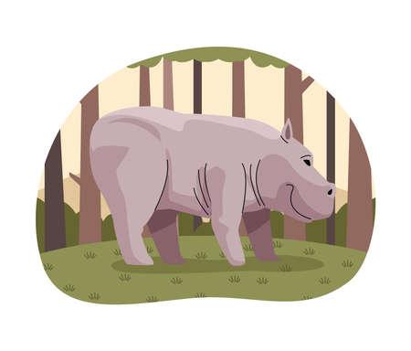 wild rhino animal in the forest nature scene vector illustration design