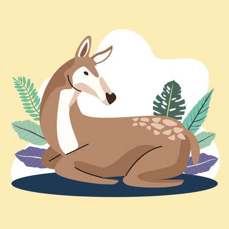 wild animal in the camp scene vector illustration design