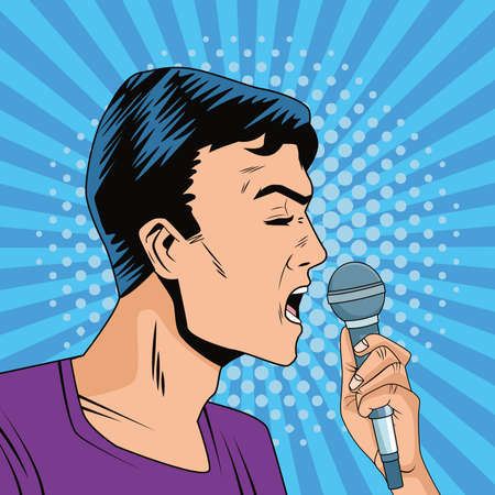 young man with microphone character pop art style vector illustration design