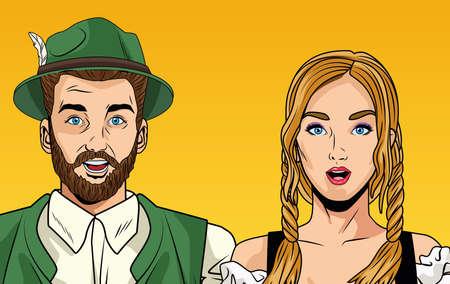 oktoberfest celebration card with german couple vector illustration design