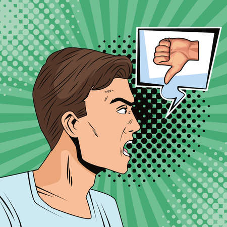 young man with speech bubble and hand bad signal pop art style vector illustration design Ilustração