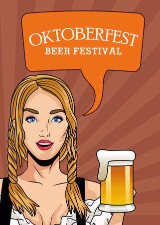 happy oktoberfest celebration card with beautiful woman drinking beer vector illustration design Ilustração
