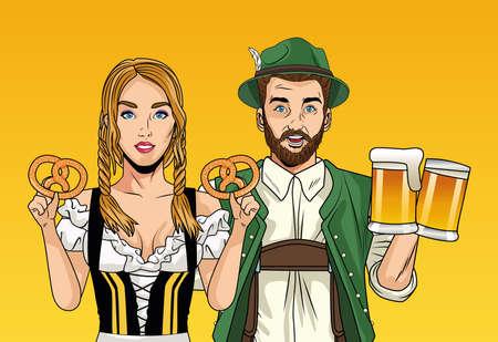 oktoberfest celebration card with german couple lifting beers and pretzels vector illustration design