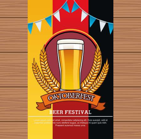 oktoberfest celebration card with beer drink in glass and garlands vector illustration design Ilustração