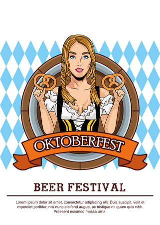 happy oktoberfest celebration card with beautiful woman eating pretzels in frame vector illustration design