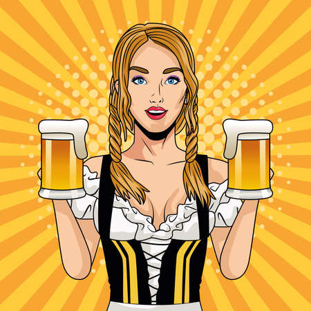 happy oktoberfest celebration card with beautiful woman drinking beers vector illustration design