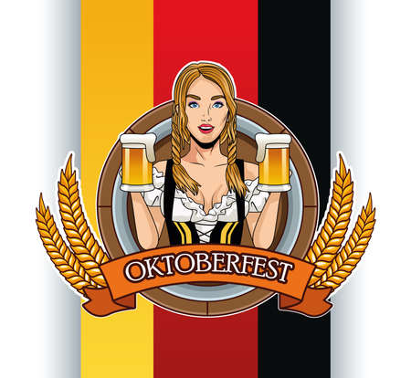 happy oktoberfest card with beautiful woman drinking beers vector illustration design