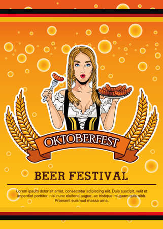 happy oktoberfest card with beautiful woman eating sausages vector illustration design