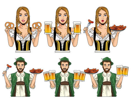 oktoberfest celebration card with german people with food and beers vector illustration design