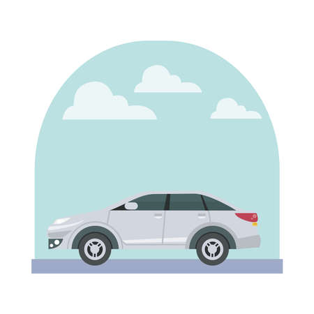 white sedan car at street with clouds design, Vehicle automobile auto and transportation theme Vector illustration Ilustracje wektorowe