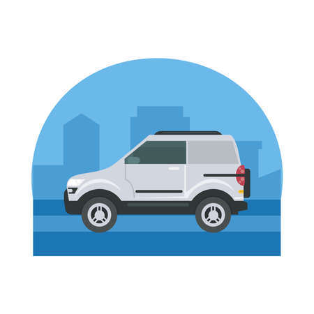 white car at street in front of city design, Vehicle automobile auto and transportation theme Vector illustration