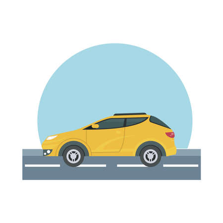 yellow car at street design, Vehicle automobile auto and transportation theme Vector illustration