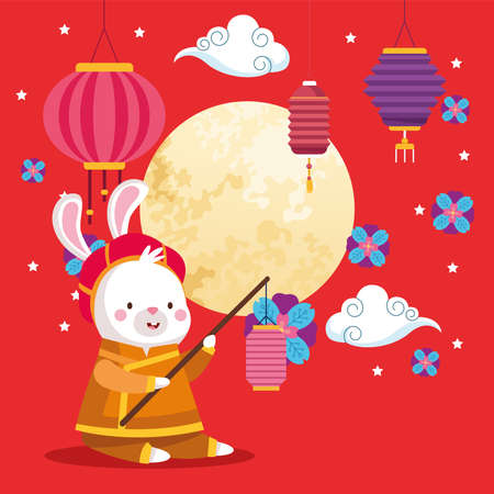 rabbit cartoon in traditional cloth with lantern and moon design, Happy mid autumn harvest festival oriental chinese and celebration theme Vector illustration