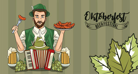 man cartoon with traditional cloth accordion sausages and beer glasses design, Oktoberfest germany festival and celebration theme Vector illustration