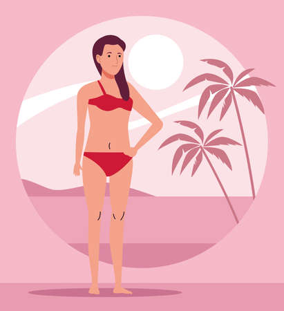young woman wearing swimsuit character vector illustration design