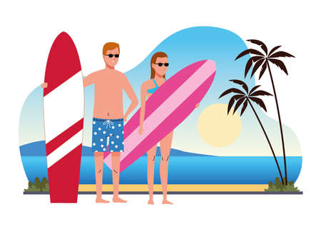 young couple wearing swimsuits with surfboards on the beach scene vector illustration design