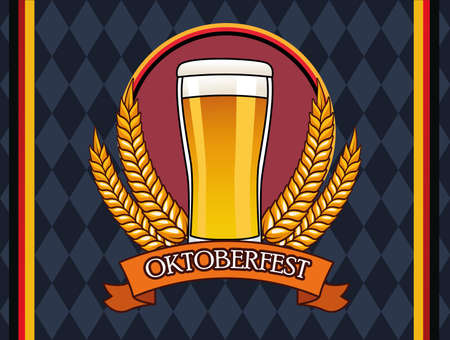 oktoberfest celebration card with beer drink in glass vector illustration design