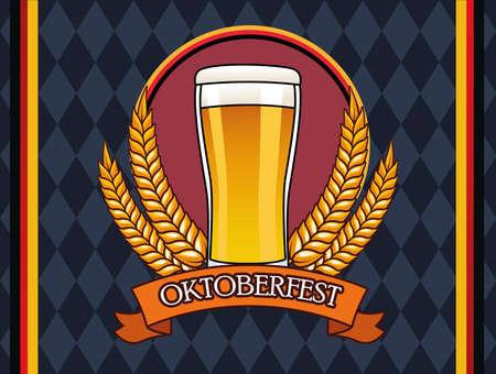 oktoberfest celebration card with beer drink in glass vector illustration design