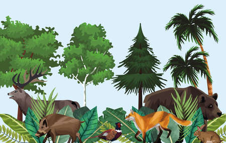 group of animals in the jungle scene vector illustration design