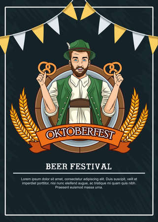 oktoberfest celebration card with german man eating pretzels vector illustration design