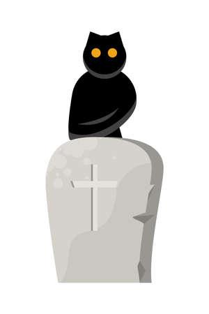 halloween graveyard tomb cemetery with owl vector illustration design