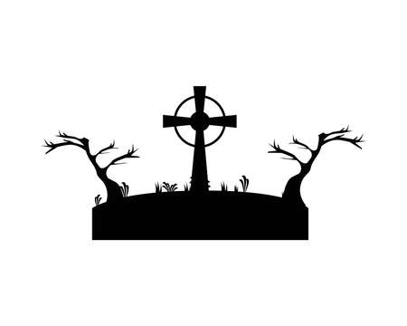 grave with cross in dry forest scene vector design, death tomb cementary and scary theme Vector illustration
