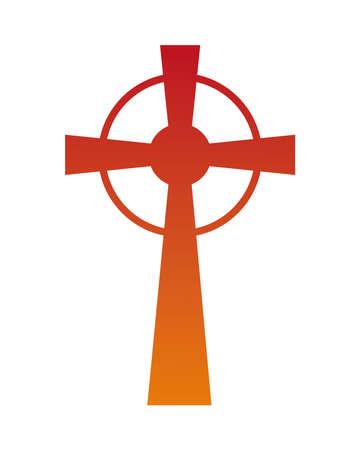 orange Christian and catholic cross silhouette design, Religion culture belief religious faith god spiritual meditation and traditional theme Vector illustration