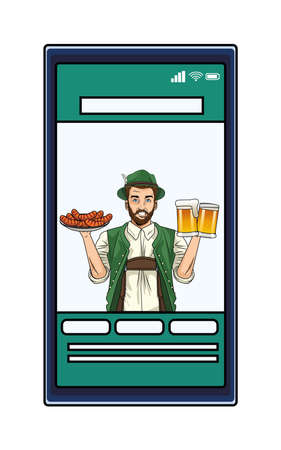 german man wearing tyrolean suit with sausages and beers in smartphone vector illustration design