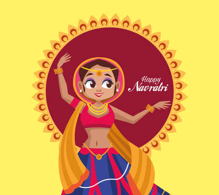 happy navratri celebration card with lettering and woman dancing vector illustration design