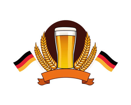beer drink in glass with wheat spikes and germany flags vector illustration design