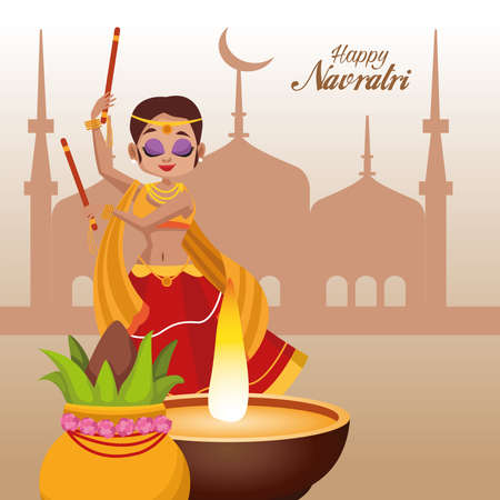 happy navratri celebration card lettering and woman dancing with taj mahal vector illustration design