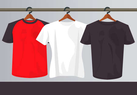 three mockup shirts in clothespins hanging vector illustration design