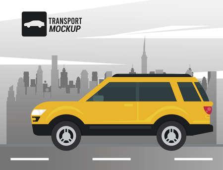 mockup car color yellow icon vector illustration design