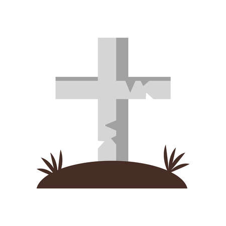 tomb cross cemetery flat style icon vector illustration design