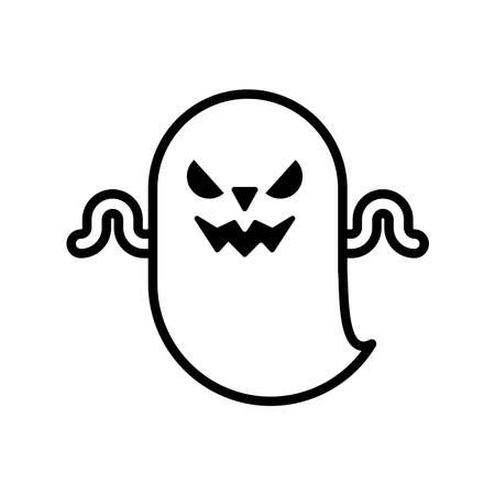 halloween ghost floating line style icon vector illustration design