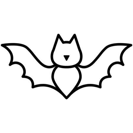halloween bat flying line style icon vector illustration design Vector Illustration