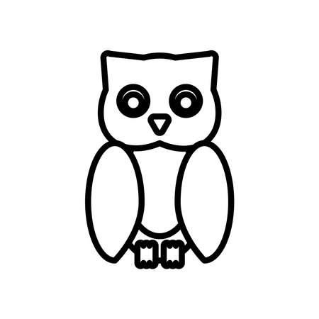 halloween owl line style icon vector illustration design