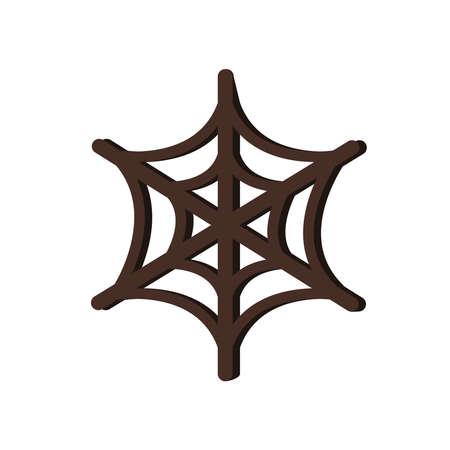 halloween spider net flat style icon vector illustration design