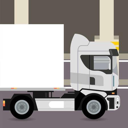 truck mockup car vehicle in parking zone icon vector illustration design Stock fotó - 155332915
