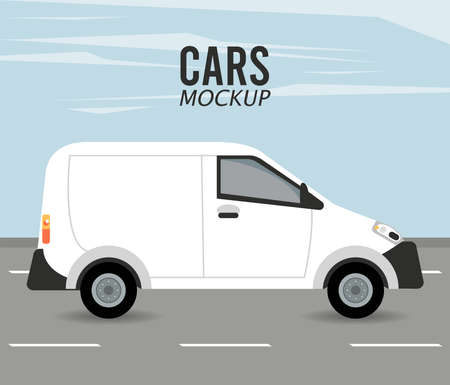 mini van mockup car vehicle in the road vector illustration design