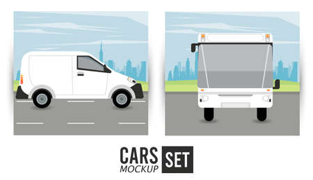 mini van and bus mockup cars vehicles icons vector illustration design Stock fotó - 155332924