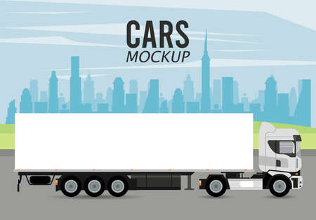truck mockup car vehicle icon vector illustration design Stock fotó - 155332928