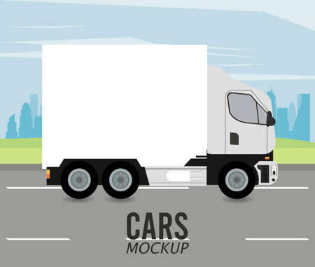 truck mockup car vehicle in the road icon vector illustration design Stock fotó - 155332929