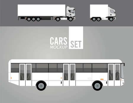 white trucks and bus mockup cars vehicles icons vector illustration design Illusztráció