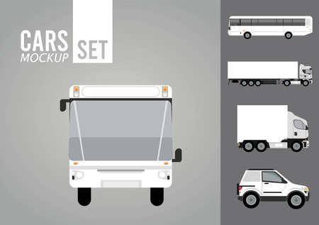bus white and set vehicles mockup icons vector illustration design Illusztráció