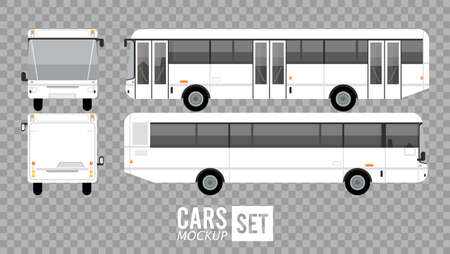 white buses mockup cars vehicles icons vector illustration design Stock fotó - 155332932