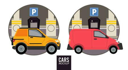 mini van and camper mockup cars vehicles icons vector illustration design